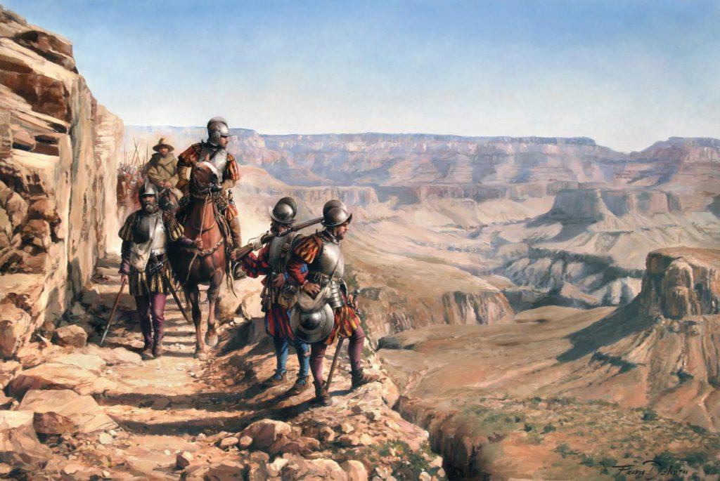 """Spanische """"Conquistadores"""" bei einer Expedition durch den Grand Canyon (ca. 16 Jh.)"""