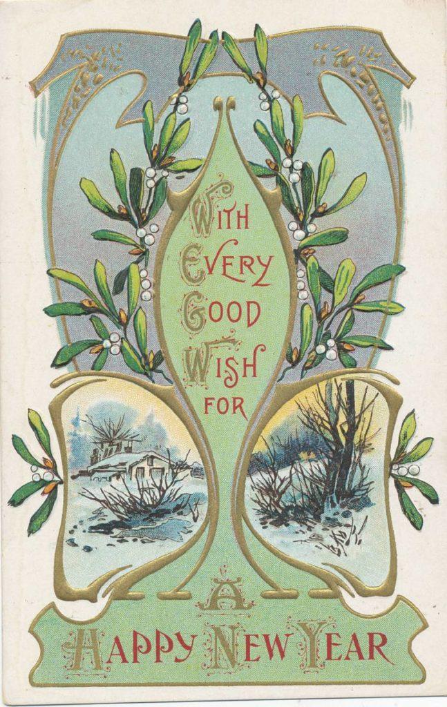 Mistelzweig Postkarte (ca. 1900)